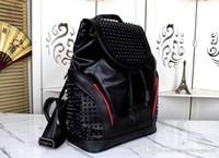 grandes sacos de viagem de couro venda por atacado-estilo de rock e moda preto dos homens de couro genuíno grande capacidade de homem da moda bolsa verdadeiro luxo Leahter mochilas sacos de viajar