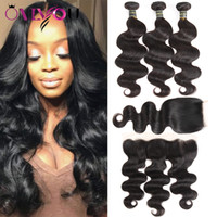 Wholesale 4x4 Lace Frontal - Brazilian Virgin Hair Body Wave 3 Bundles With 4x4 Lace Closure Or 13x4 Frontal Ear To Ear Unprocessed Human Hair Wefts With Closure