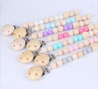 ingrosso catene a mano per bambini-Clip per catena di ciuccio con perlina in legno per bambini con coperchio
