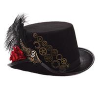 sombrero negro mujer vintage al por mayor-Steampunk Sombrero de copa Hombres Mujeres Negro Rosa Engranajes Pluma Fedora Vintage Cosplay Desgaste de la cabeza 58cm / 61cm