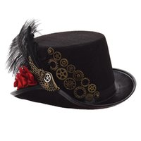 ingrosso piume top da donna cappelli-Steampunk Top Hat Uomo Donna Black Rose Gears Piuma Fedora Vintage Head Wear Cosplay 58cm / 61cm