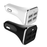Wholesale android tablets usb ports - White Black 5V 6.8A 4 Usb ports Car charger autio power adapter with LED Indicator for iphone samsung android phone gps tablet