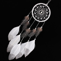 Wholesale Carved Wall - ecoration Crafts Wind Chimes Hanging Decorations Silver Bead Dream Catcher with Feather Wall Hanging Decoration Handmade Dreamcatcher Ind...