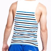 Wholesale slimming tank for men for sale - Group buy O Neck Summer Style Fashion Men Tanks Tops Brand Seobean Stripe O Neck Tanks For Men Slim Sleeveless Men Vests