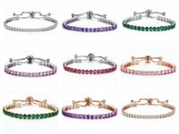 ingrosso vendita di braccialetti di fascino delle signore-Braccialetto push-pull di cristallo scintillante di vendita calda dei monili signora oro e argento strass completo braccialetto di fila singola Bridal's Bridal's Braccialetto