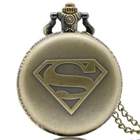 Wholesale superman quartz watches - Bronze Famous Superman Logo Design Fob Quartz Pocket Watch Numerals Analog Dial Vintage Necklace Chain Best Birthday Gift for Children Boys