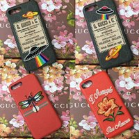 Wholesale fly cases - For iPhone X Case Luxury Brand Embroidery Flower Fly UFO Phone Case for iphone 7 7plus 8 8plus hard back cover for iphone 6 6S 6plus