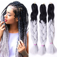 Wholesale ombre kanekalon braiding hair box braids resale online - Ombre Xpression Braiding Synthetic Hair Extensions Two Tone Inches Jumbo Crochet Braids Box Braids Kanekalon Braiding Hair
