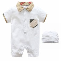 Wholesale soft v neck - Newborn baby boy summer short sleeve children clothes 100% Cotton Long Sleeve Baby Rompers Soft Infant Baby girl Clothing Set Jumpsuits