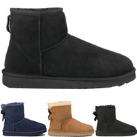 Wholesale mens leather calf boots resale online - Mens Designer winter snow Boots Australia fashion WGG tall boots U G leather Bailey Bowknot women s bailey SHORT bow Knee WOMEN men shoes