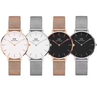 Wholesale stainless steel slim watch - Top Brand Rose Luxury Brand Gold Quartz Watch 40mm and 36mm Men Casual Japanese Quartz Watch Stainless Steel Mesh with Slim Clock Ladies