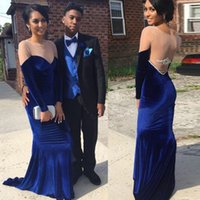 Wholesale Velvet Evening Gown Long Backless - 2018 Hot Couple Fashion Prom Dresses Newest Mermaid Sheer Jewel Neck Backless Royal Blue Velvet Long Evening Party Gowns