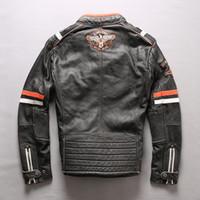 carrinho da raça da motocicleta venda por atacado-jaquetas de couro de vaca preta vintage motocicleta gola BOMIKE RONNY multimarcas casacos de corrida