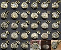 relógio de quartzo quartzo venda por atacado-Atacado 100 pçs / lote Mix 30 Projetos Caso Dia 2.5 CM Cadeia Pingente de Quartzo Bronze Pequeno Relógio de Bolso Relógio Da Coroa PW048
