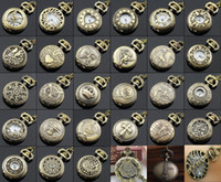 bronze taschenuhr kette groihandel-Großhandel 100 teile / los Mix 30 Designs Fall Dia 2,5 CM Anhänger Kette Quarz Bronze Kleine Crown Uhr Taschenuhr PW048