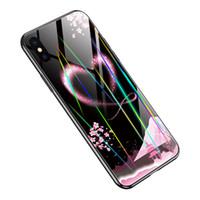 x lumière laser achat en gros de-Etui en verre trempé mince laser Night Light Noctilucent pour iPhone XS Max XR XS X 8 8 Plus 7 7 Plus 6 6 Plus