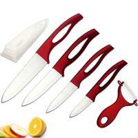 kırmızı işlenmiş bıçak takımları toptan satış-Peeler Set Güzellik Hediyeler Zirkonyum iyi kırmızı kolu Seramik meyve Bıçak mutfak + Yüksek kaliteli Fabrika Doğrudan Satış Kapaklar