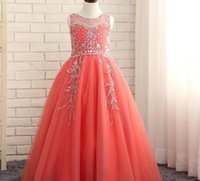 UK Real Top Beaded Coral Organza Puffy Ball Gown Girls Pageant Dresses 2016 First Communion Dresses For Girl Prom Dress 10 12,FD036 DHgate Mobile