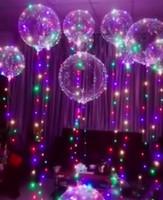 ballon dekorationen lichter groihandel-Luminous Led Ballon Bunte Transparente Runde Blase Dekoration Party Hochzeit Ballons Beleuchtung in Dark 3M String