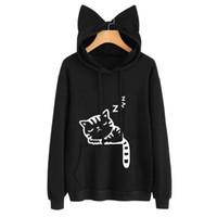 Wholesale Black Hoodie Ears - New Women Casual Hoodies Sweatshirt Long Sleeve Hoody Cat Cute Ears Printed Hoodies Tracksuit outerwear Sweatshirt