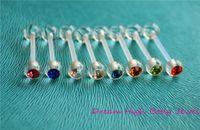 ingrosso anello di gemma acrilico-Crystal Gem Body Jewellery Acrilico Piercing Ring Tongue Bar Bioflex 14g 16mm Colori misti Trasparente Popolare Piercing flessibile