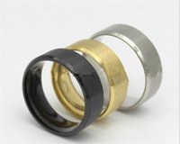 8mm edelstahlringe großhandel-8 MM Edelstahl Ring Band Titan Silber Schwarz Gold Männer Hochzeit verlobungsringe J139