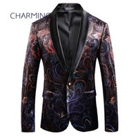 Wholesale collar designs for wedding dresses online - Mens suit coat gentleman suit jacket luxury printed fabric shawl collar design for singer performance party ball wedding dress