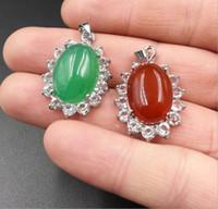 ingrosso giada ovale-Moda Smeraldo Malay Pendente in giada con pendenti in argento placcato ovali Malay vintage ornamenti all'ingrosso
