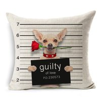 Wholesale pink roses pillow cases - Dog With Rose Flower Guilty Of LOVE Cushion Cover 17 Style Bad Dog Pillow Cover Decorative Linen Cotton Pillow Case Bedroom Sofa Decor