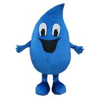 mavi maskotlar toptan satış-Sıcak satış yetişkin mavi Su damlası Maskot kostümleri Fantezi elbise Karikatür Kostümleri Ücretsiz kargo