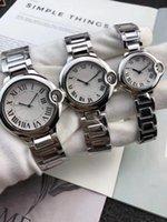paar quarz armbanduhren großhandel-2018 Mode Uhren 42mm / 35mm / 28mm AUTO BALLON Männer Frauen Quarzwerk Edelstahl römische Ziffer Zifferblatt Paar Uhr Armbanduhren