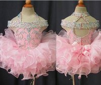 Wholesale pink organza ruffle prom dress for sale - Group buy Toddler Pageant Dresses Pink Organza Cupcake Kids Prom Gowns Crystal Beaded Open Back With Bow Formal Little Girls Birthday Party Dress