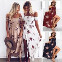 xs vestidos de cóctel al por mayor-Mujeres verano boho floral impreso vestido largo maxi fiesta de noche vestido de cóctel vestidos de playa Sundress 7 colores LJJO4136