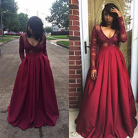 Wholesale Pink Lin - Burgundy Long Sleeve Evening Dresses 2018 Elegant Deep V-Neck A-Lin Prom Gown Top Lace Floor Length Cheap African Party Gown BA4007