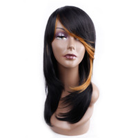 Wholesale synthetic heat resistant wigs bangs online - Amir Long Synthetic Wigs Cosplay Wavy Hair Wig With Bang Middle Side Part Heat Resistant Ombre Wigs For Women