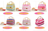 Wholesale Insulated Case - 300PCS Canvas Stripe Picnic Lunch Drink Thermal Insulated Cooler Tote Bag Portable Carry Case Lunch Box 6 Colors