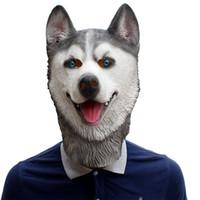 латексная маска для собак оптовых-Husky Dog Mask Halloween Ball Show Животных Латексная Головная Крышка Косплей Игры Веселые Праздничные Атрибуты на Рождество Festiva Высокое Качество