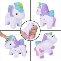 Wholesale unicorns toys - Squishy Toys flying Apsaras unicorn Kawaii Animal Slow Rising Jumbo Squeeze Phone Charms Stress Reliever Kids Gift squishies