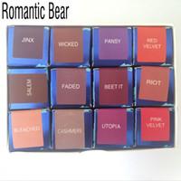 романтические обложки оптовых-Romantic Bear Matte covered Liquid Lipgloss Waterproof nutritious batom Lip gloss tint lips care kit 12PCS/LOT  beauty