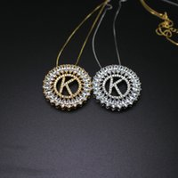 Wholesale letter k pendant - Letter K pendant necklace with AAA cubic zirconia fashion jewelry for women