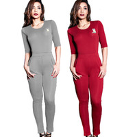 Wholesale jumpsuit slits - Curve Appeal Sexy Skinny Long Jumpsuits Crew Neck Half Sleeve Backless Slit Night Club Women Hollow Out Bodysuits