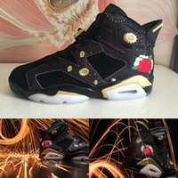 Wholesale New Year Boxes - (With Box)2018 Cheap High Quality Shoes 6 Chinese New Year Basketball Shoes Men 6s CNY Peony Fireworks Embroidery Sneakers