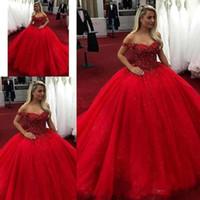 lantejoulas vermelhas com contas de tul venda por atacado-2019 Luxo Sexy Off the Shoulder Red vestido de baile quinceanera vestidos de tule frisado lantejoulas trem da varredura vestido de baile vestido pageant custom made