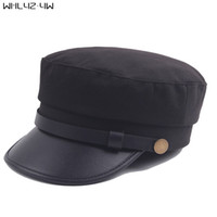 Wholesale military wool beret - WHLYZ YW Fashion Solid Visor Military Hat Autumn and Winter Vintage wool Patchwork Beret Cap For Women England Style Flat Cap