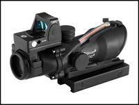 alcance de punto rojo de fibra óptica al por mayor-Tatical Scope Trijicon ACOG 4x32 Real Fibra Óptica Rojo Iluminado con RMR Micro Red Dot Sight para el campo de caza deportivo