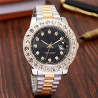 Wholesale women watches big dials - 45mm Luxury brand big diamond watches ladies Designer Automatic Calendar Black dial Gold Silver Stainless Steel clock lady watch for woman