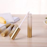 productos para las cejas al por mayor-Tubos de brillo de labios vacíos transparentes dorados Lápiz labial líquido Delineador de ojos Cejas Productos de maquillaje de belleza Estuche Botellas recargables 20 piezas