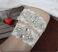 Wholesale lace ribbons wholesale - 2018 Sparky Crystal Bridal Garters Wedding Garters Real Picture Handmade Lace Wedding Leg Garters Cheap In Stock