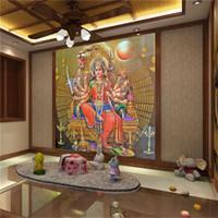 Wholesale chinese statue gods resale online - papel de parede para quarto em d Southeast Asia Thailand and India yoga Hindu god statues mural wallpaper