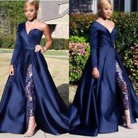 uzun iki yan yarık elbise toptan satış-2019 İki Adet Mütevazı Mavi Tulumlar Gelinlik Modelleri Bir Omuz Ön Yan Yarık Pantsuit Uzun Kollu Abiye giyim Parti Elbise